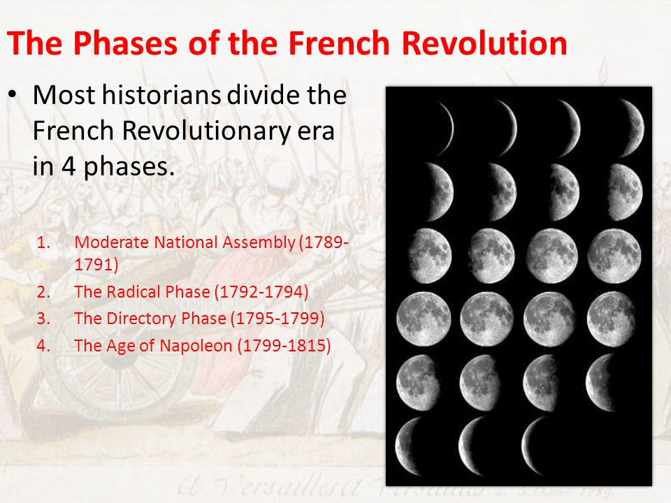 phases of the french revolution Introduction as indicated in the discussion of the french revolution, there is a logical and long-range pattern that revolutions follow therefore, understanding the pattern of past revolutions can help us anticipate events in current revolutions, more specifically the final stages of the process now taking place in russia and china.