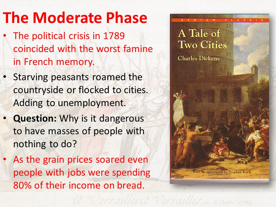 The Moderate Phase The political crisis in 1789 coincided with the worst famine in French memory.