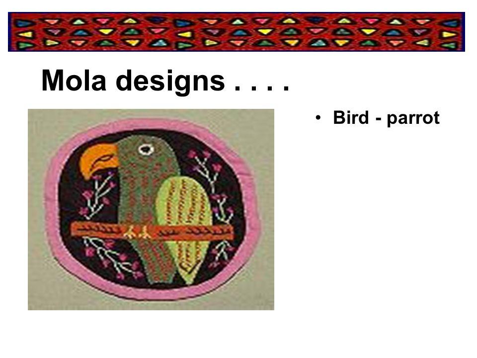 Mola designs . . . . Bird - parrot
