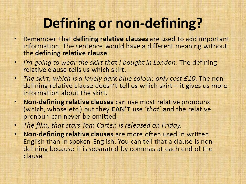 Defining or non-defining