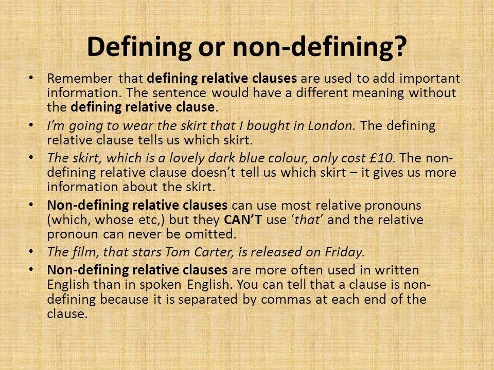 Defining or non-defining