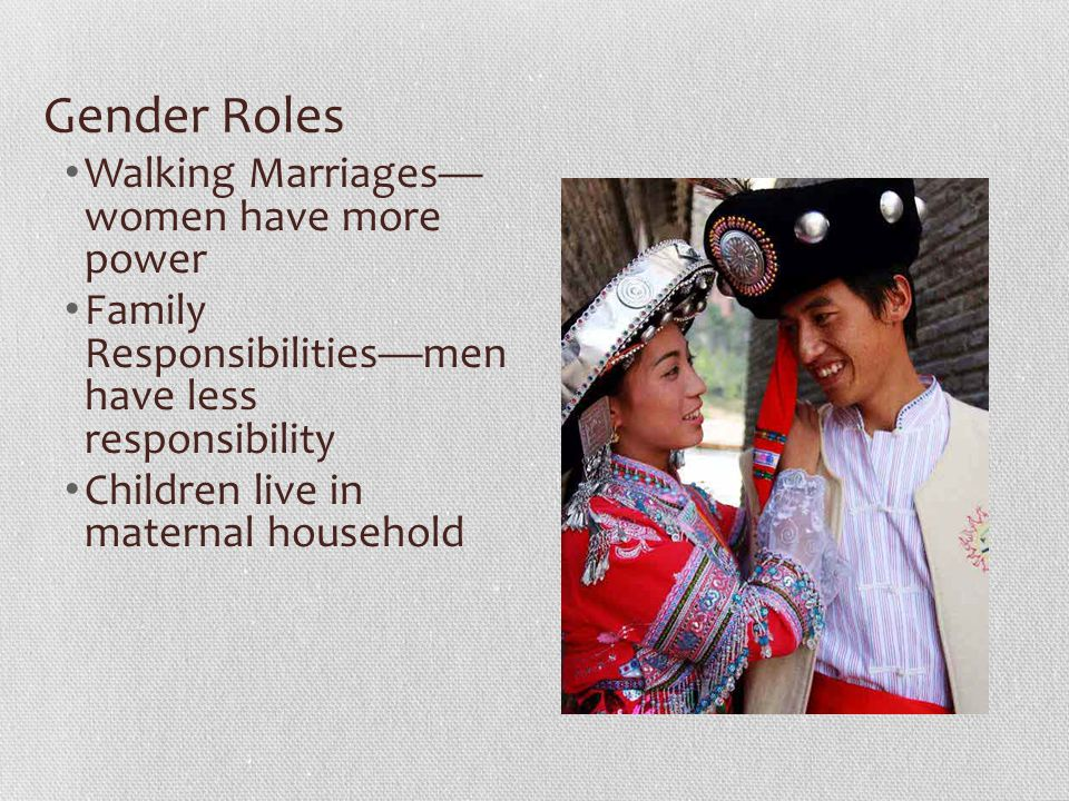Gender Roles Walking Marriages— women have more power