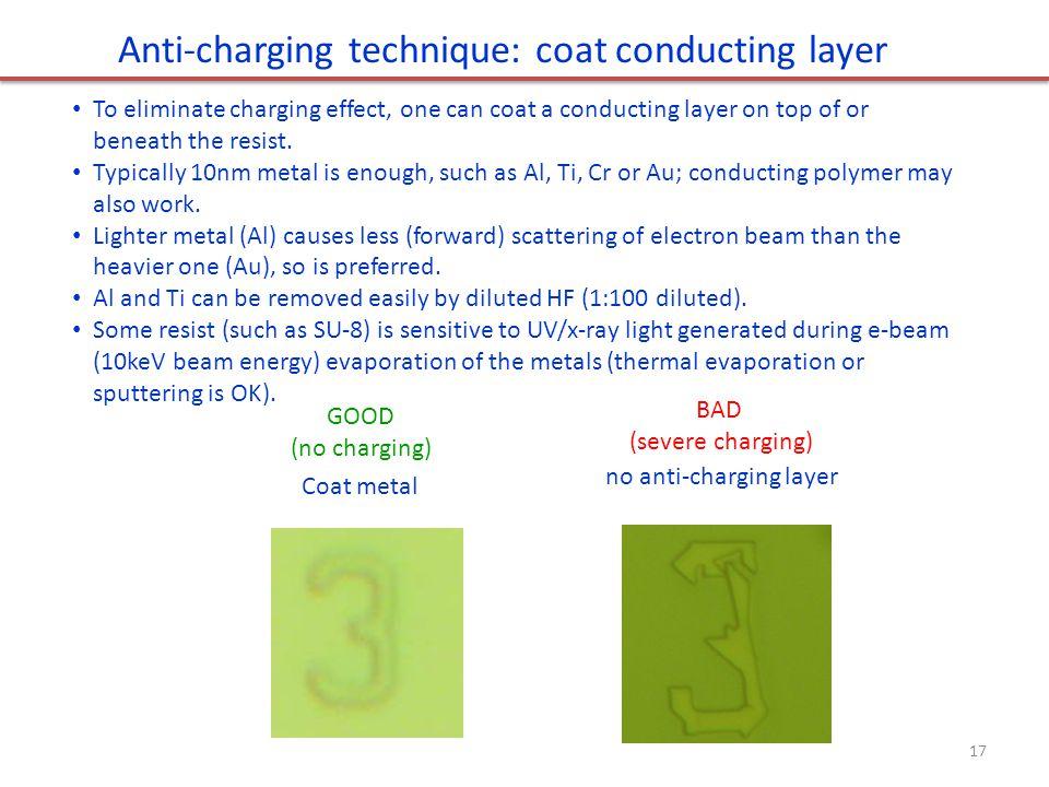 Anti-charging technique: coat conducting layer