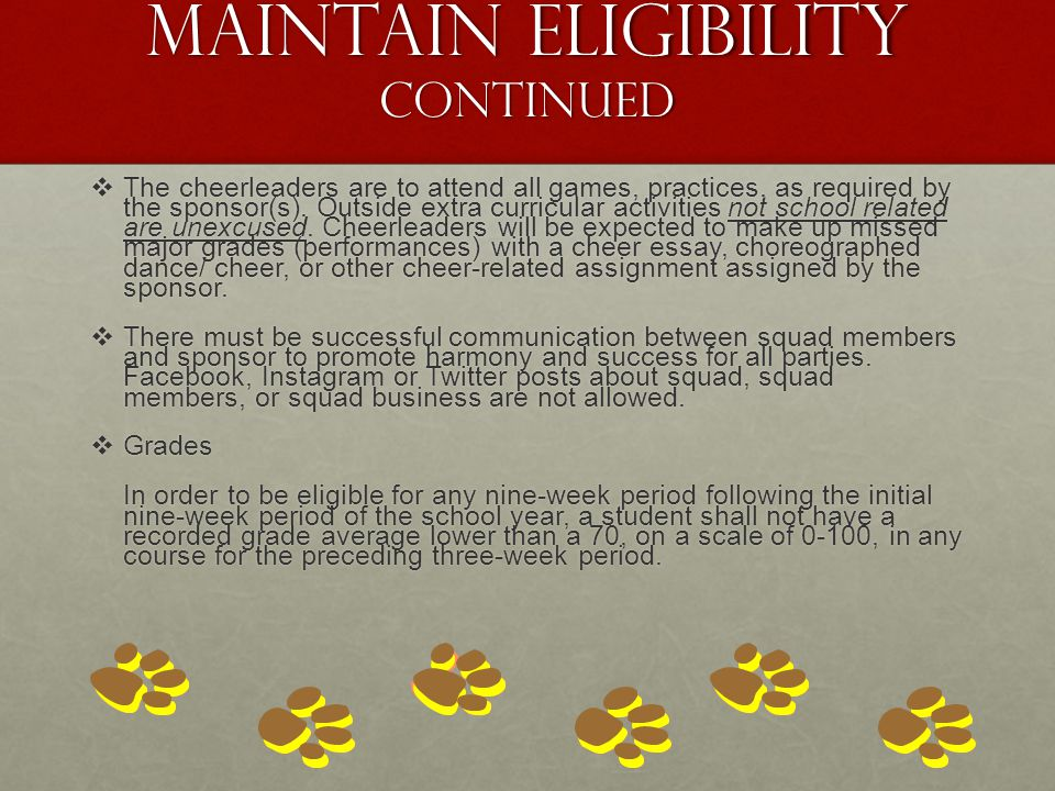 Maintain Eligibility continued