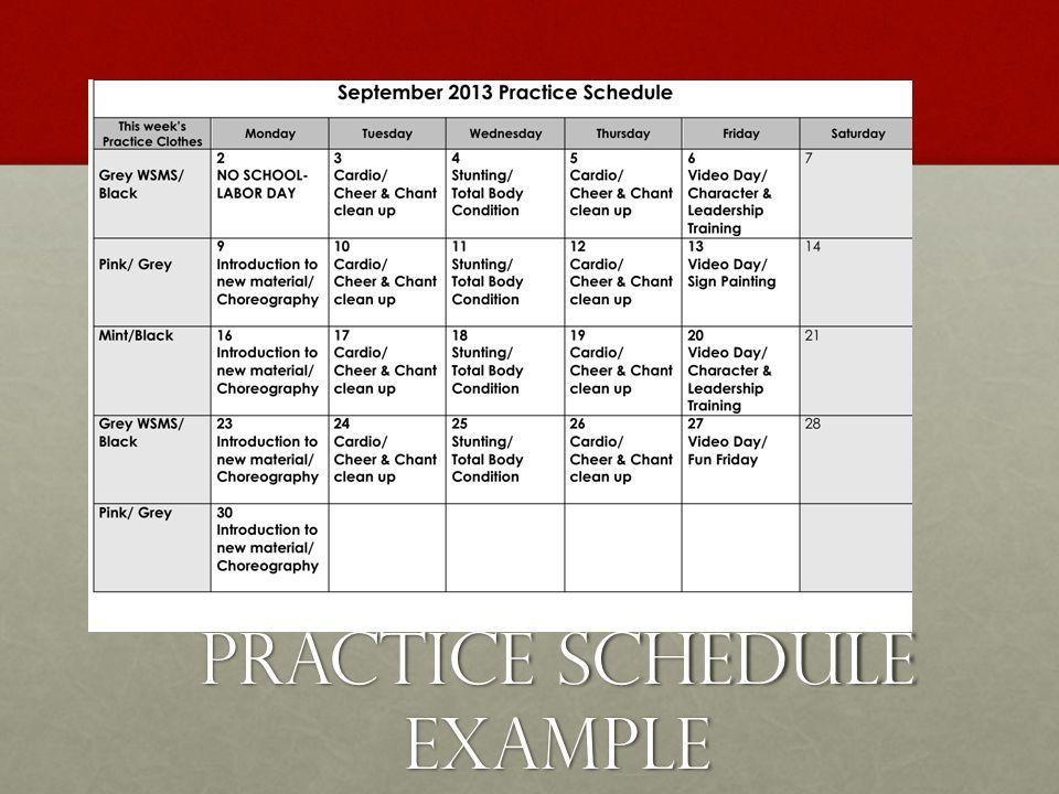 Practice Schedule Example