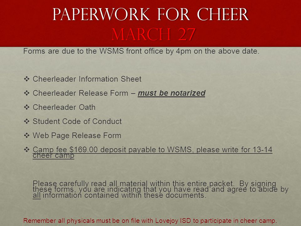Paperwork for CHEEr March 27