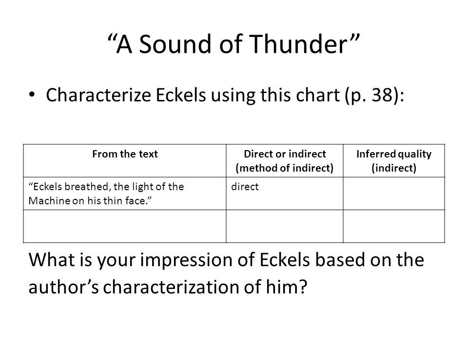 A Sound of Thunder Characterize Eckels using this chart (p. 38):