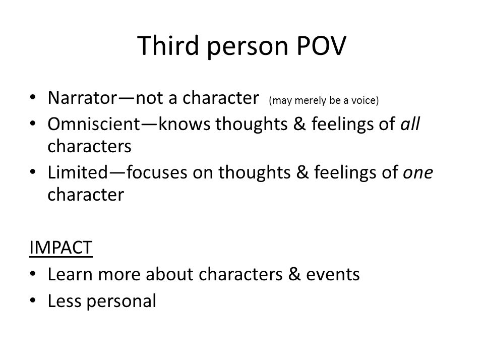 Third person POV Narrator—not a character (may merely be a voice)