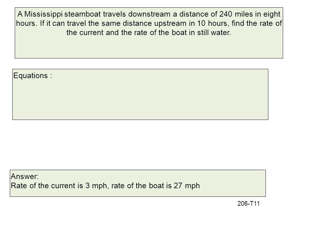 Rate of the current is 3 mph, rate of the boat is 27 mph