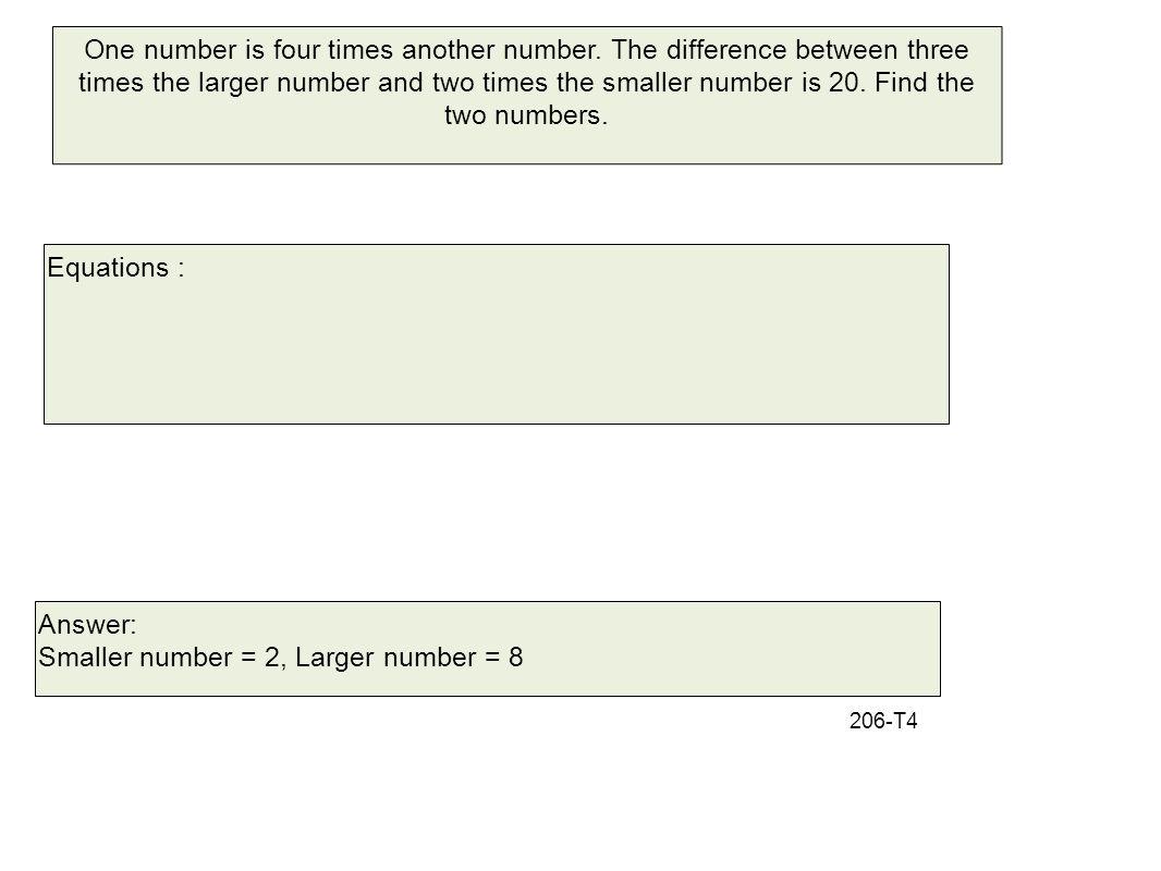 Smaller number = 2, Larger number = 8