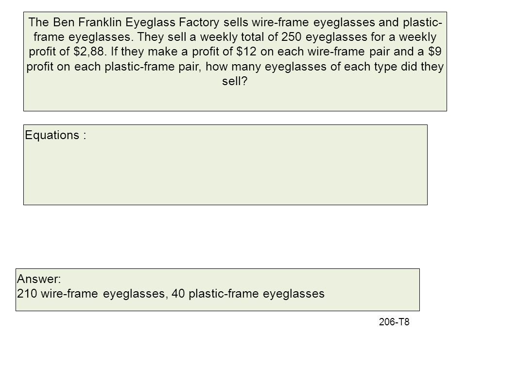 210 wire-frame eyeglasses, 40 plastic-frame eyeglasses