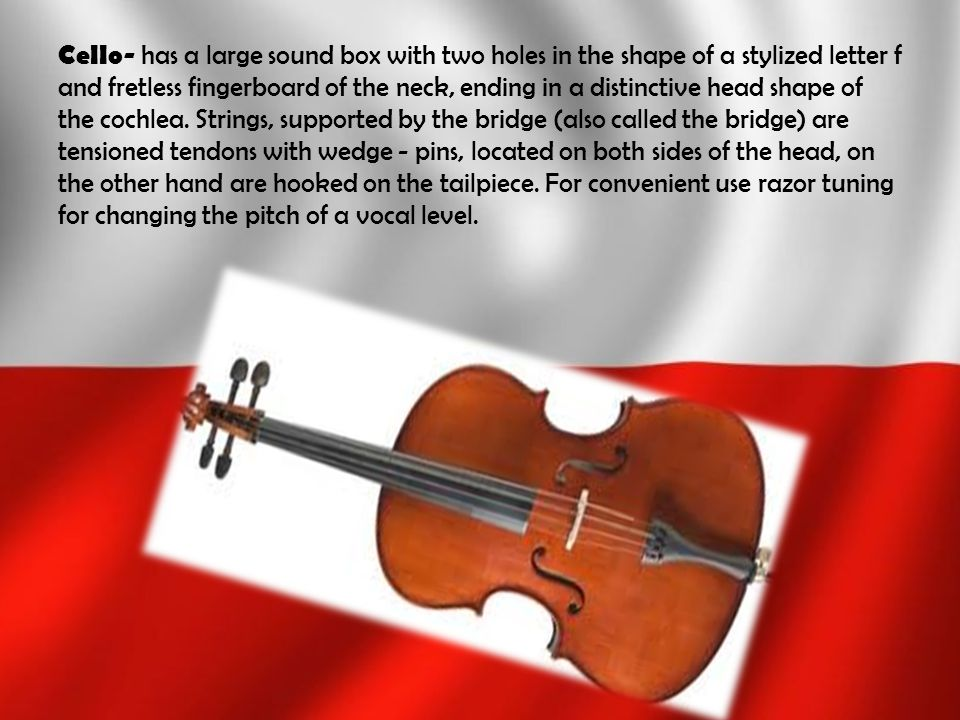 Cello- has a large sound box with two holes in the shape of a stylized letter f and fretless fingerboard of the neck, ending in a distinctive head shape of the cochlea.