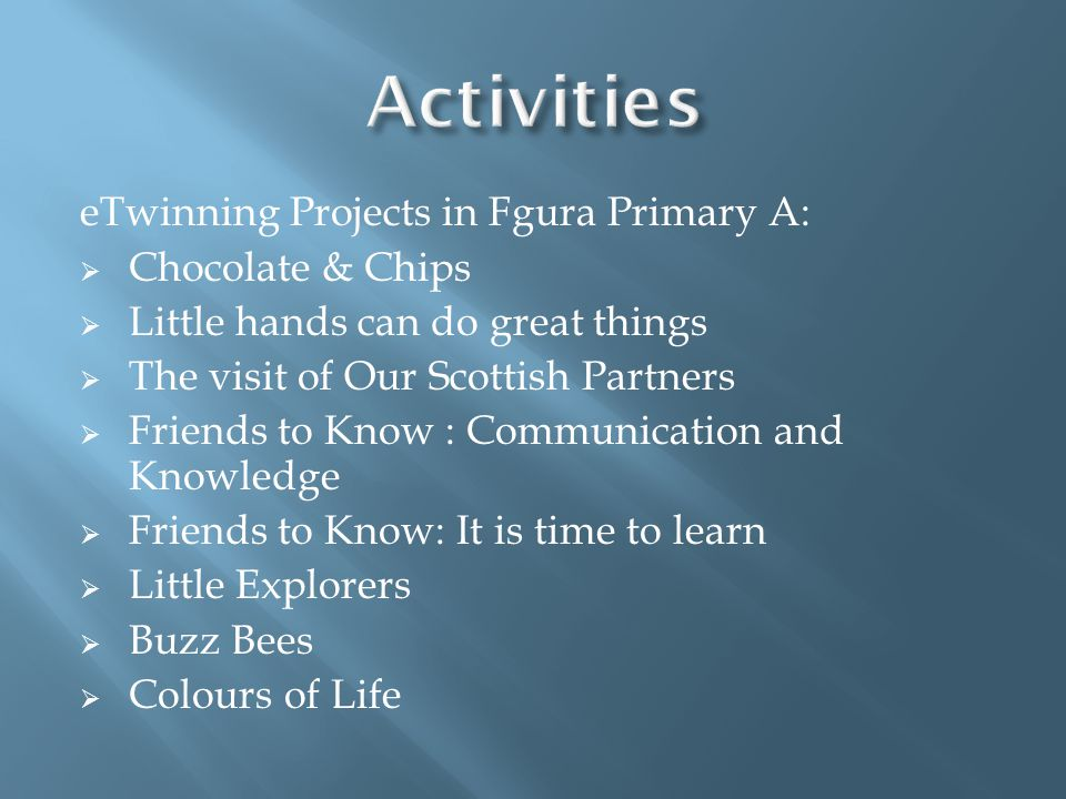 Activities eTwinning Projects in Fgura Primary A: Chocolate & Chips