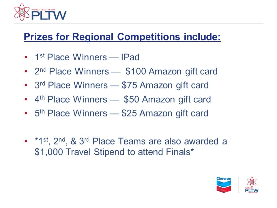 Prizes for Regional Competitions include: