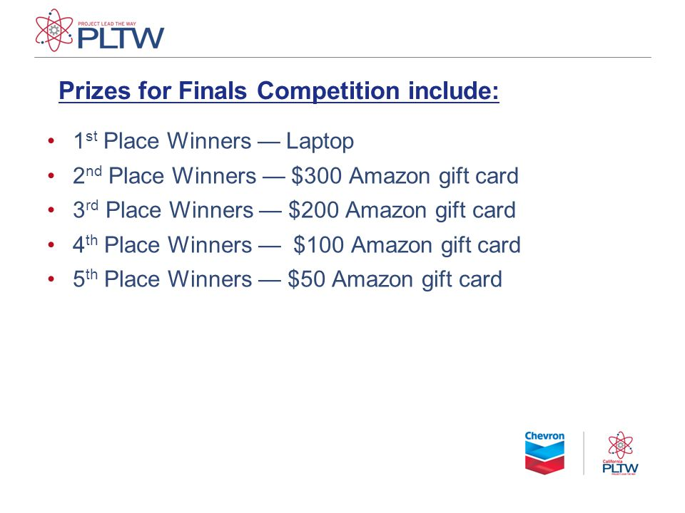 Prizes for Finals Competition include: