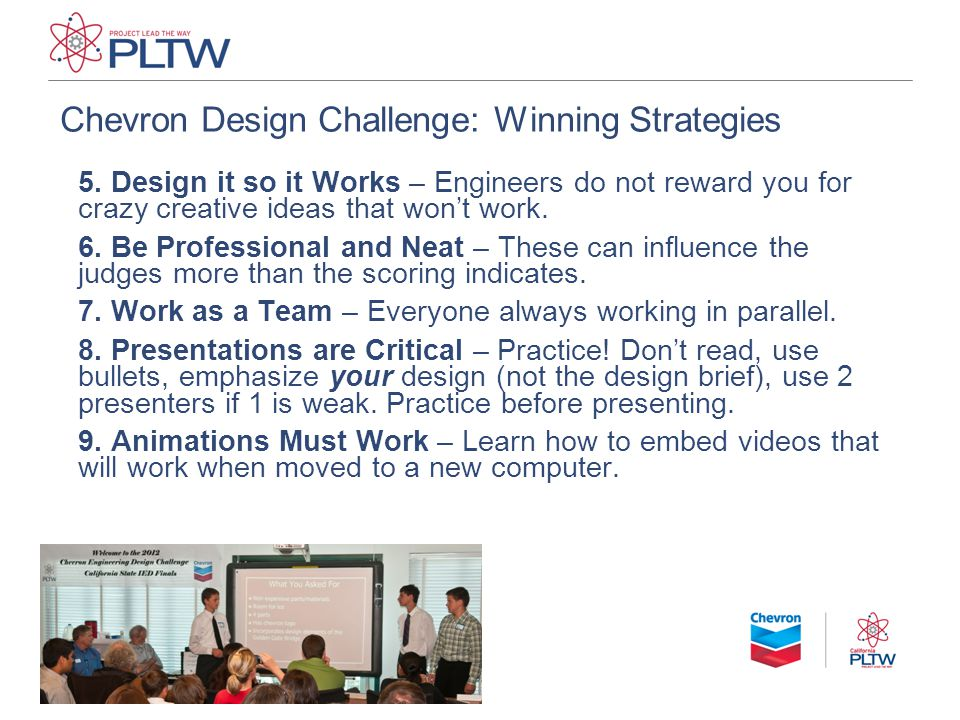 Chevron Design Challenge: Winning Strategies