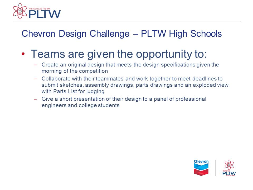 Chevron Design Challenge – PLTW High Schools