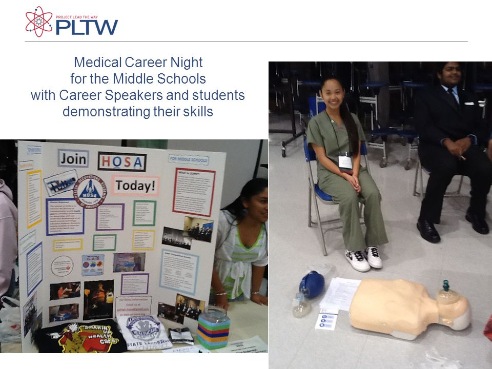 Medical Career Night for the Middle Schools with Career Speakers and students demonstrating their skills