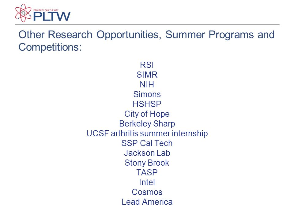Other Research Opportunities, Summer Programs and Competitions: