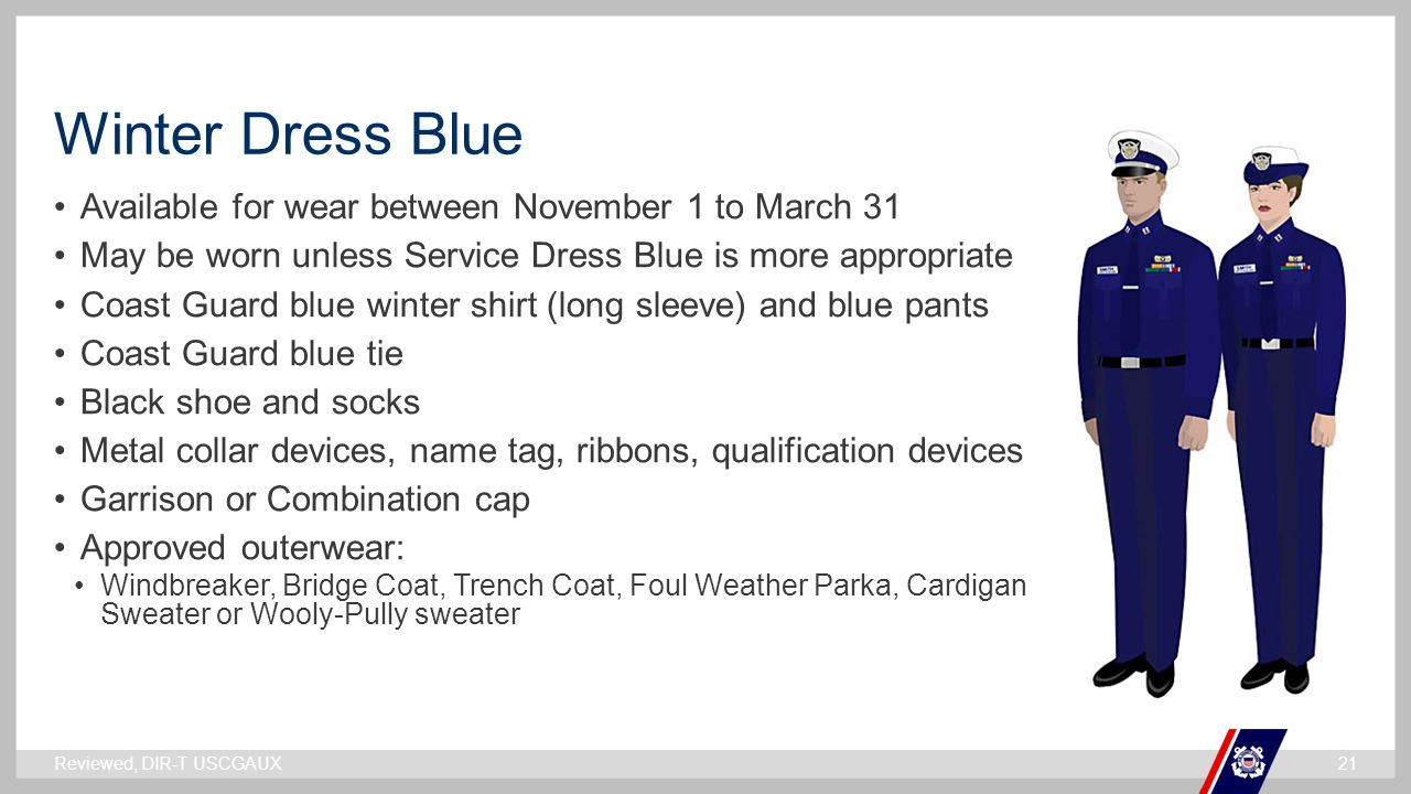 Winter Dress Blue Available for wear between November 1 to March 31