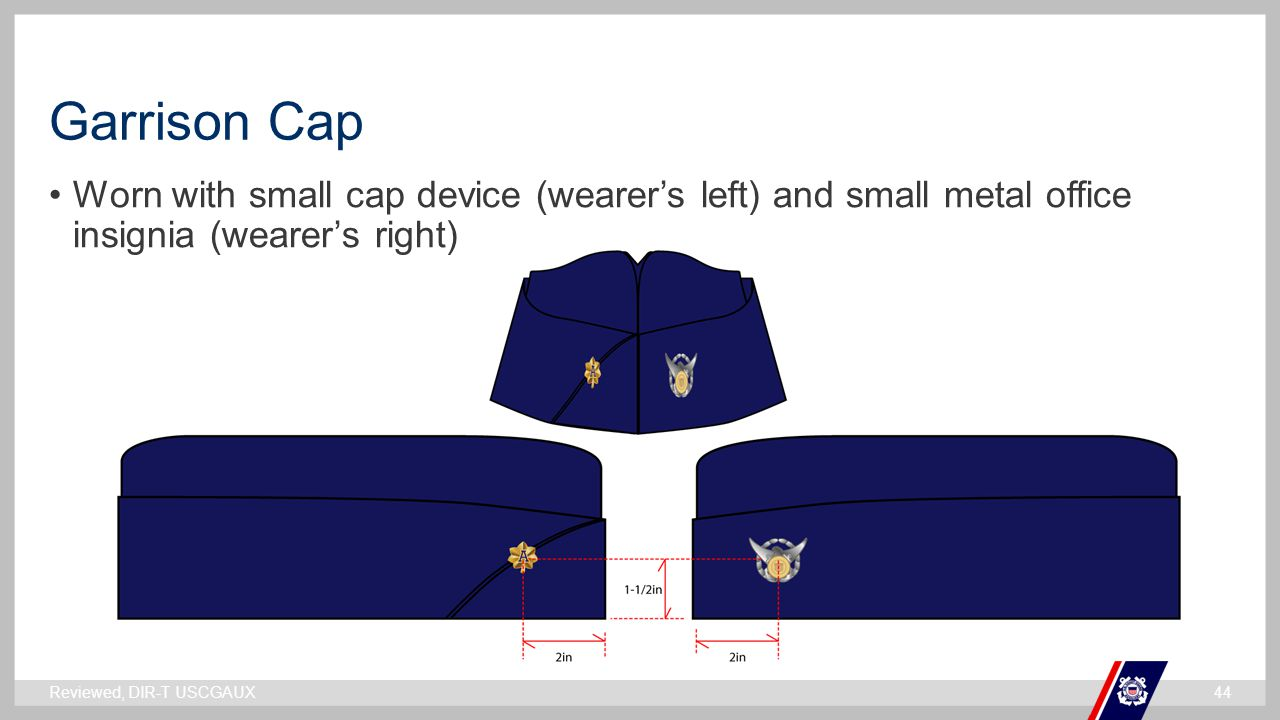 Garrison Cap Worn with small cap device (wearer's left) and small metal office insignia (wearer's right)