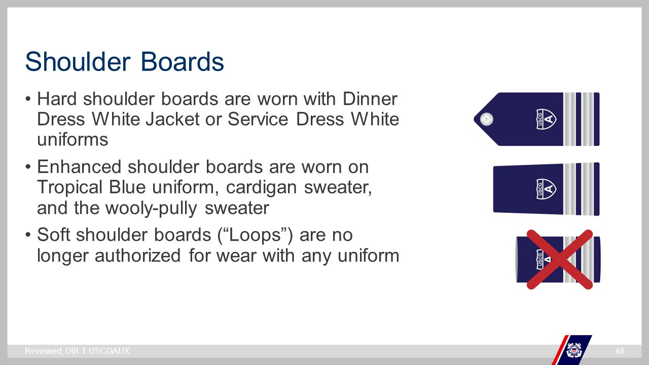Shoulder Boards Hard shoulder boards are worn with Dinner Dress White Jacket or Service Dress White uniforms.