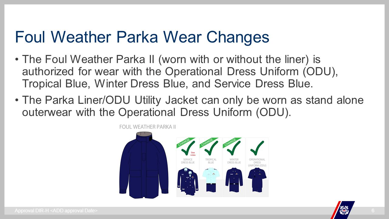 Foul Weather Parka Wear Changes