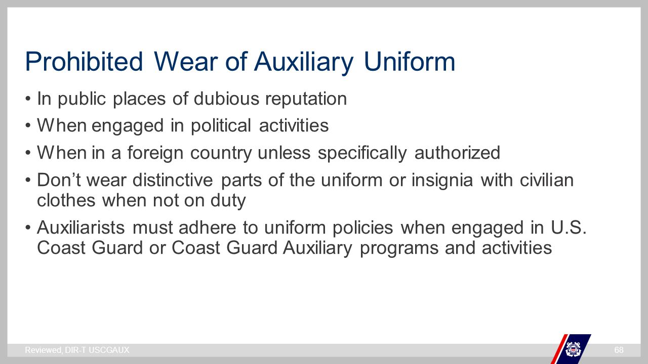 Prohibited Wear of Auxiliary Uniform