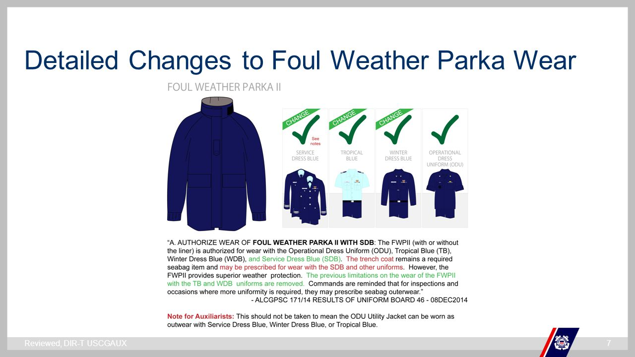 Detailed Changes to Foul Weather Parka Wear