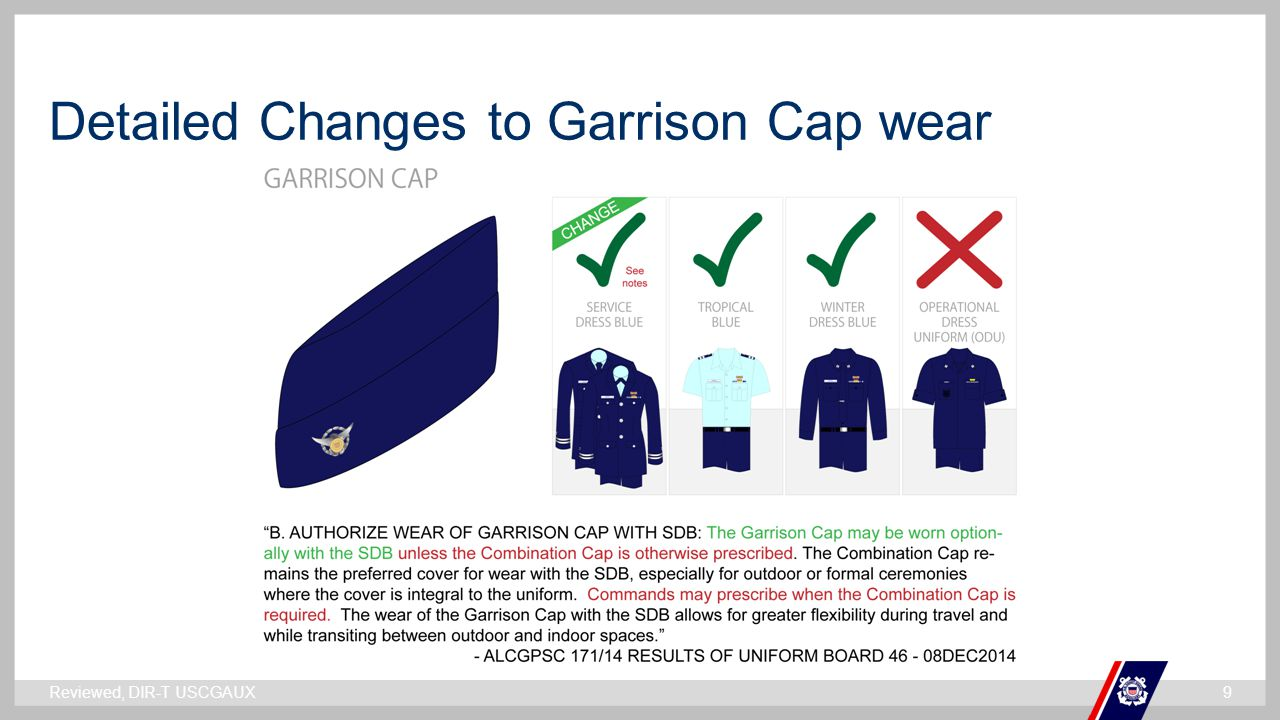 Detailed Changes to Garrison Cap wear