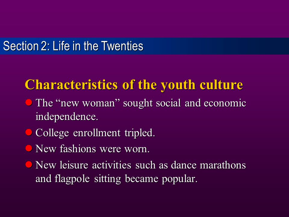 Characteristics of the youth culture