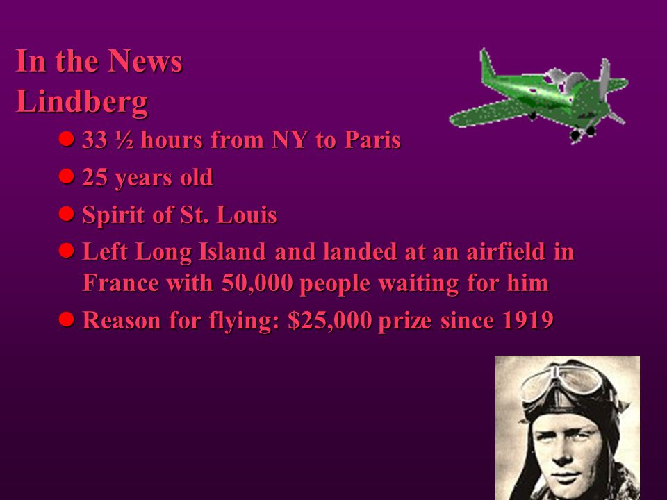 In the News Lindberg 33 ½ hours from NY to Paris 25 years old