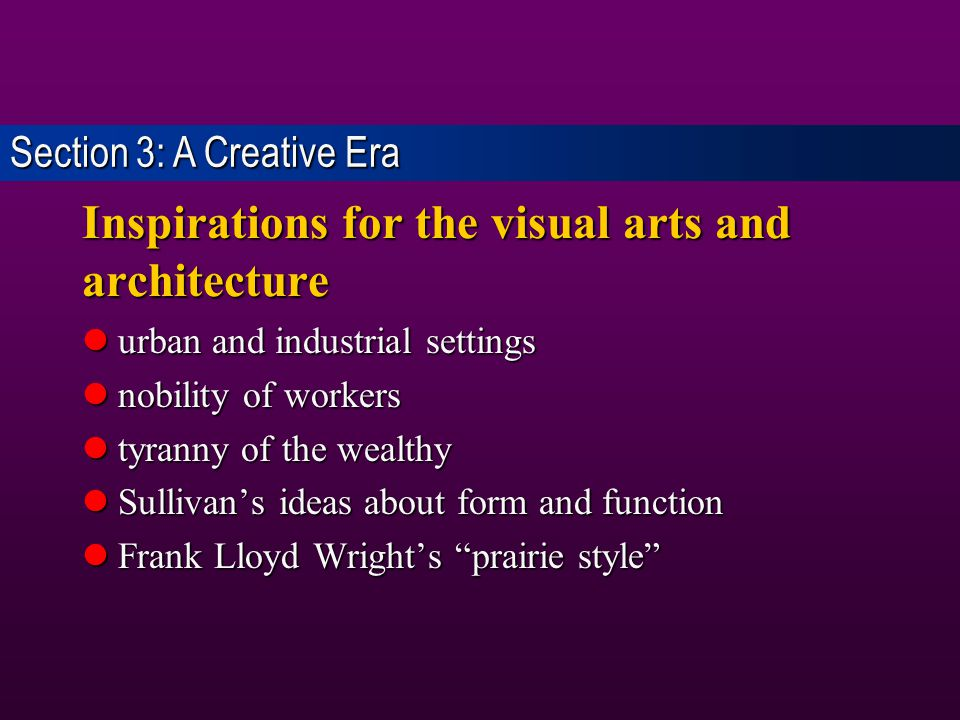 Inspirations for the visual arts and architecture