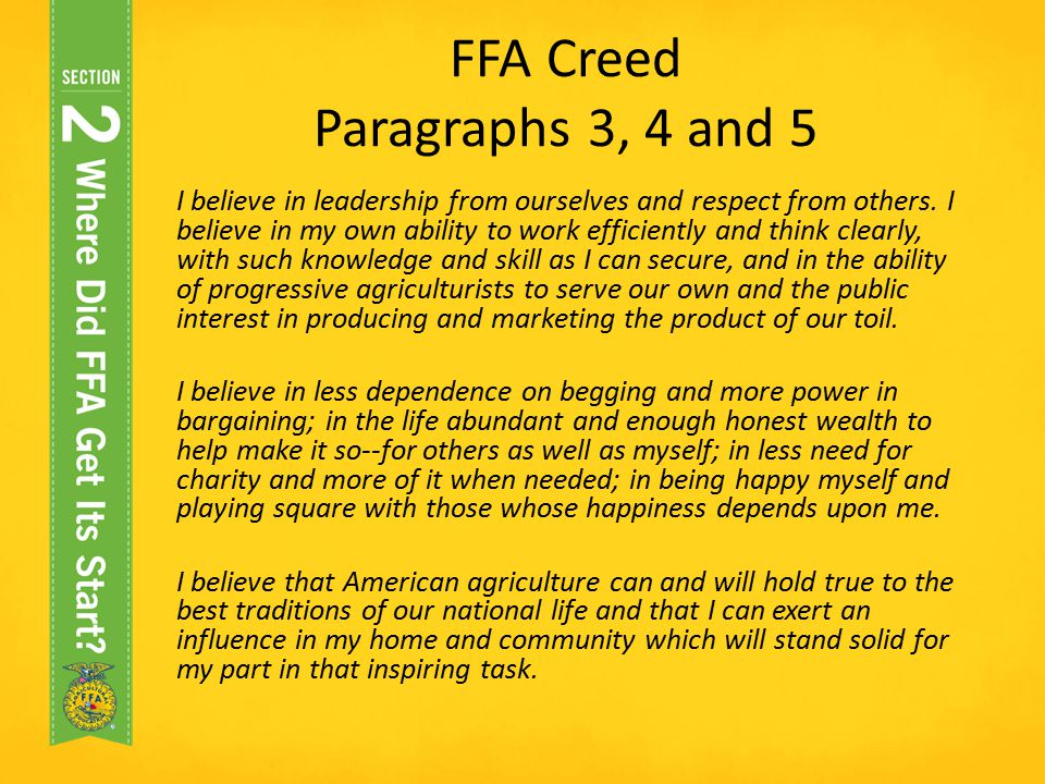 FFA Creed Paragraphs 3, 4 and 5