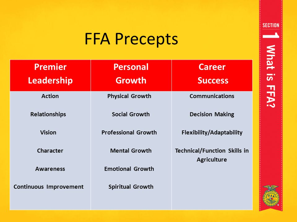 FFA Precepts Premier Leadership Personal Growth Career Success Action