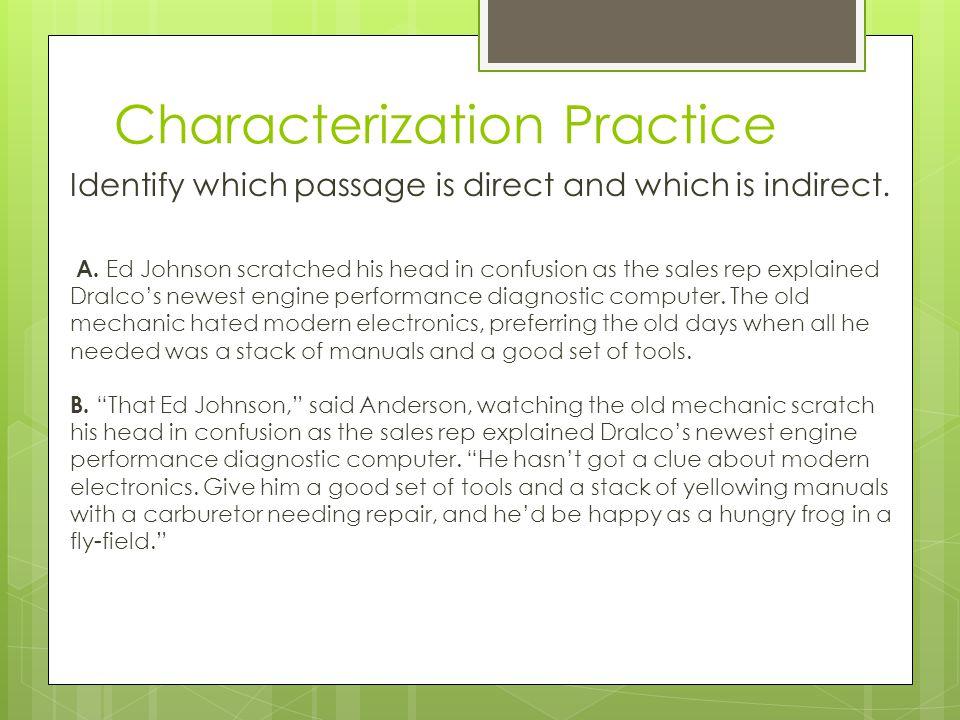 Characterization Practice