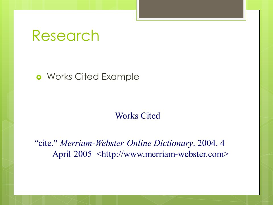 Research Works Cited Example