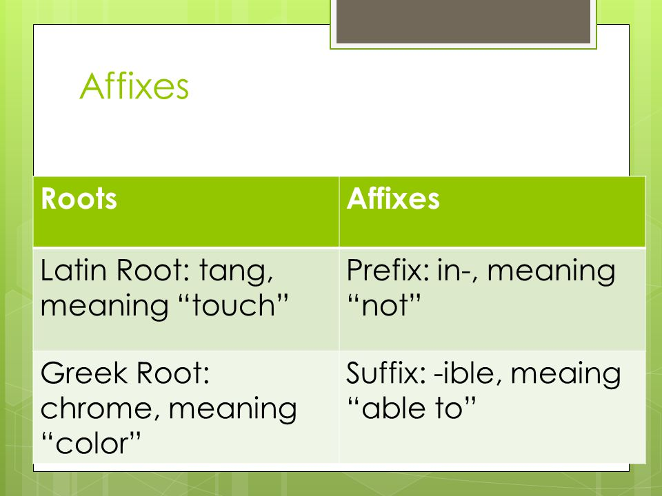 Affixes Roots Affixes Latin Root: tang, meaning touch