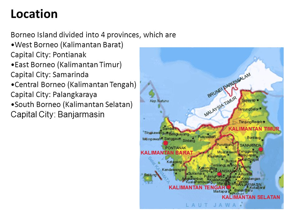 Location Borneo Island divided into 4 provinces, which are