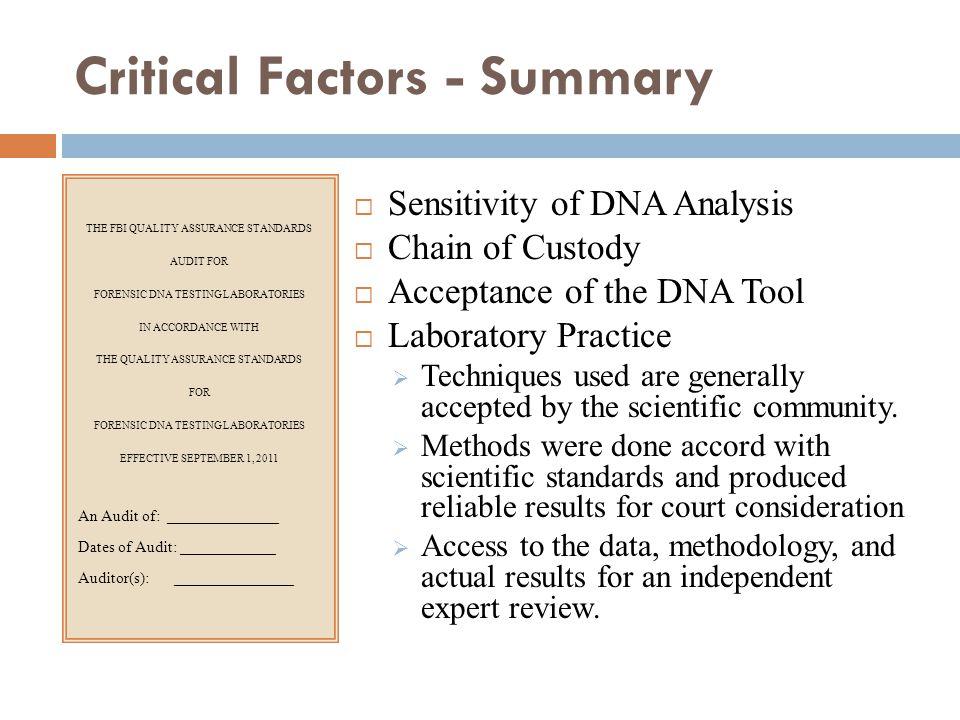 Critical Factors - Summary