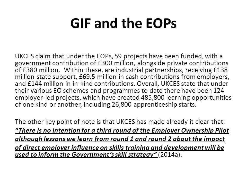 GIF and the EOPs