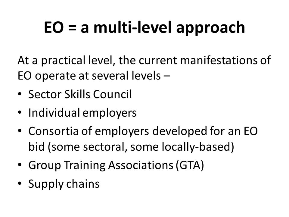 EO = a multi-level approach