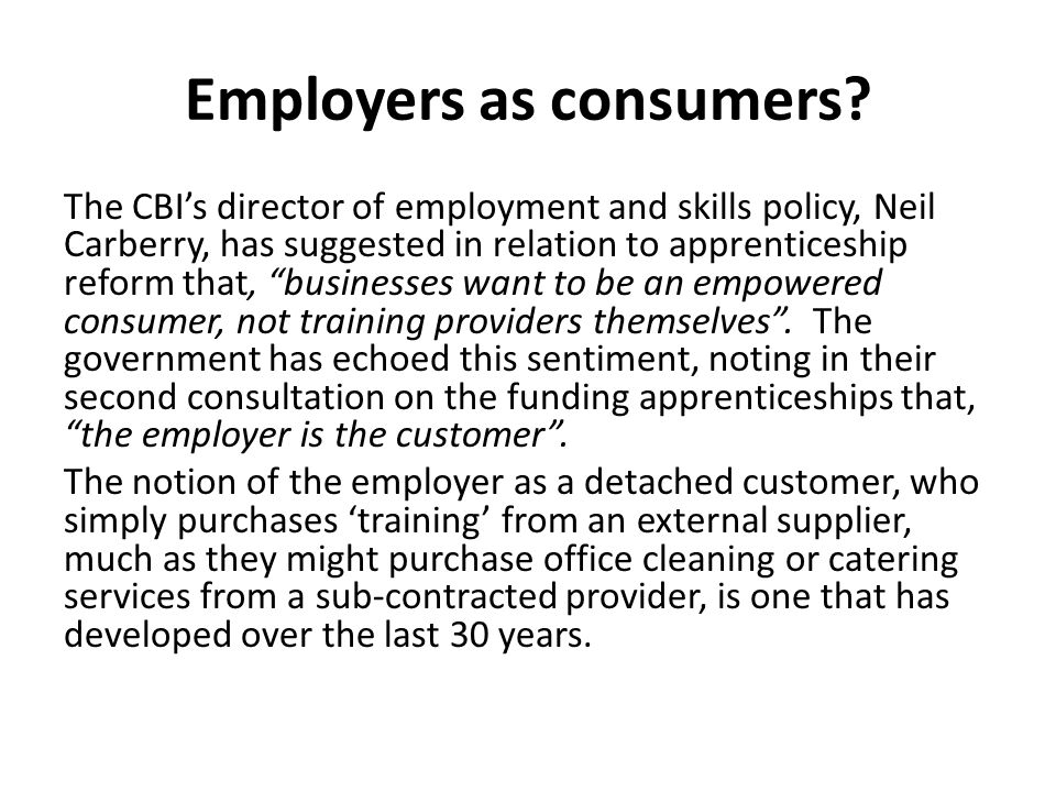 Employers as consumers