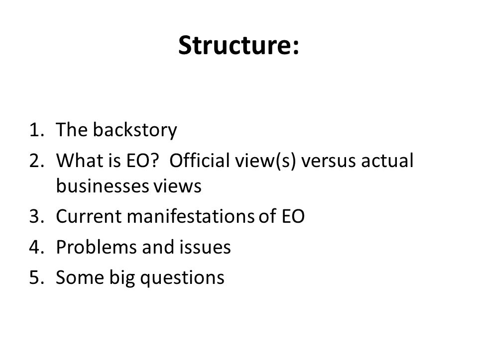 Structure: The backstory