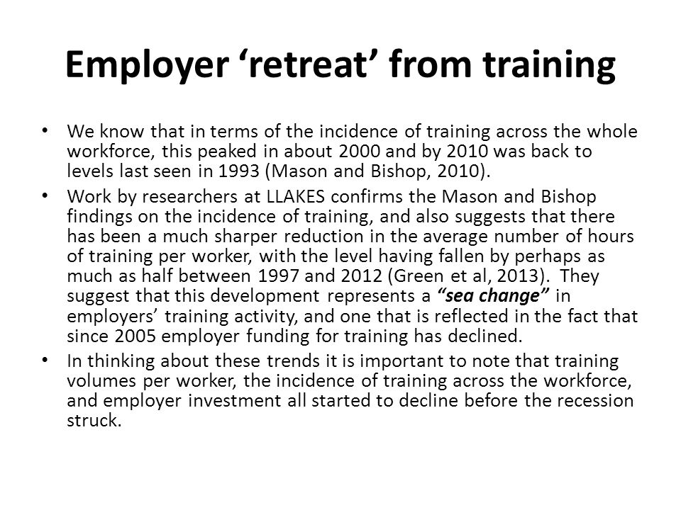 Employer 'retreat' from training