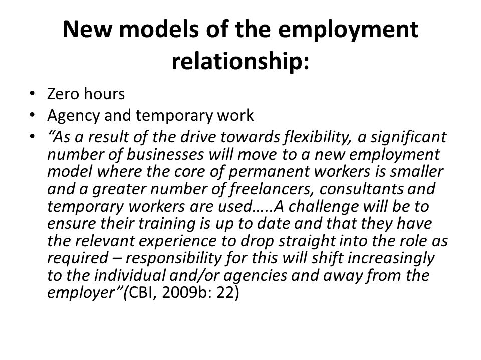 New models of the employment relationship: