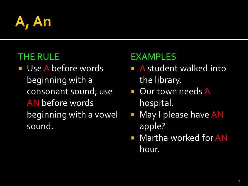 A, An THE RULE. Use A before words beginning with a consonant sound; use AN before words beginning with a vowel sound.