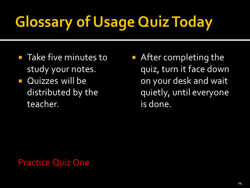 Glossary of Usage Quiz Today