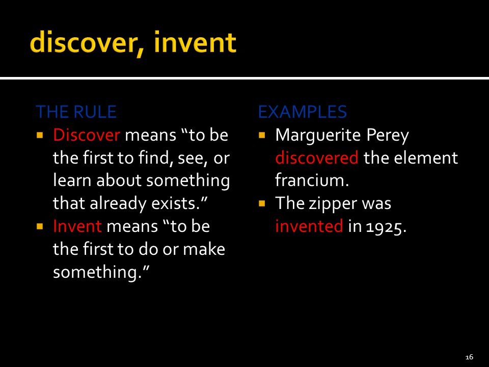 discover, invent THE RULE