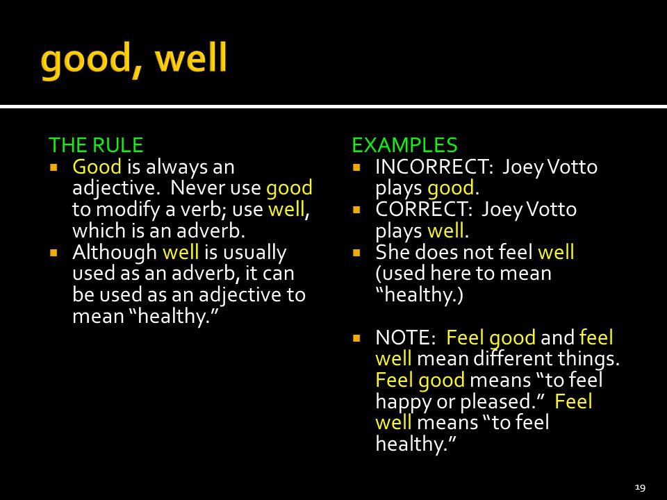 good, well THE RULE. Good is always an adjective. Never use good to modify a verb; use well, which is an adverb.